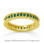 3/4 Carat Emerald 18k Yellow Gold Milgrain Prong Eternity Band