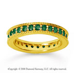 1 Carat Emerald 18k YelloWhite Gold Milgrain Prong Eternity Band