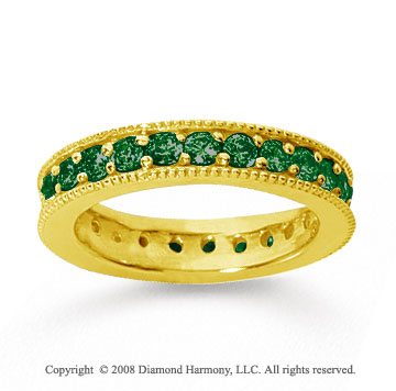 1 1/4 Carat Emerald 18k Yellow Gold Milgrain Prong Eternity Band