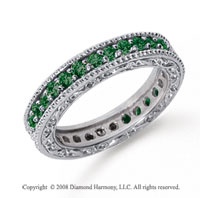 1 Carat Emerald Platinum Filigree Prong Eternity Band