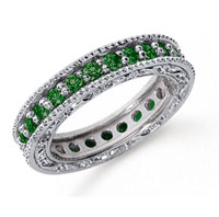 1 1/4 Carat Emerald Platinum Filigree Prong Eternity Band