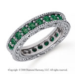 1 1/2 Carat Emerald Platinum Filigree Prong Eternity Band