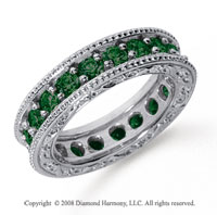 2 1/2 Carat Emerald Platinum Filigree Prong Eternity Band