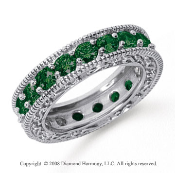 3 Carat Emerald Platinum Filigree Prong Eternity Band