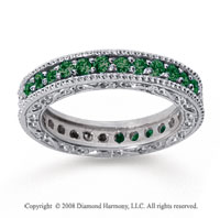 1 Carat Emerald 14k White Gold Filigree Prong Eternity Band