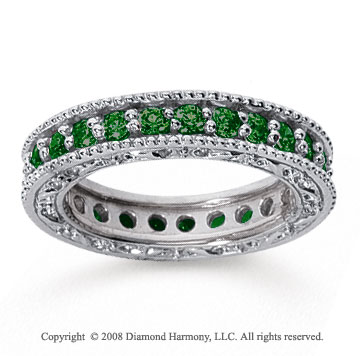 1 1/4 Carat Emerald 14k White Gold Filigree Prong Eternity Band