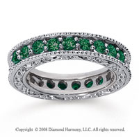 1 1/2 Carat Emerald 14k White Gold Filigree Prong Eternity Band