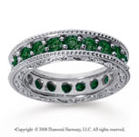 2 Carat Emerald 14k White Gold Filigree Prong Eternity Band
