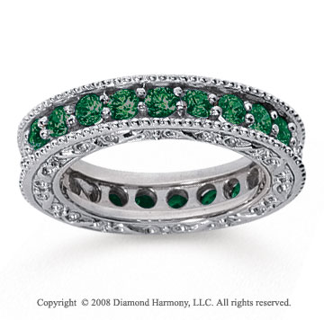 1 1/2 Carat Emerald 18k White Gold Filigree Prong Eternity Band