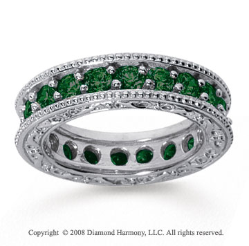 2 Carat Emerald 18k White Gold Filigree Prong Eternity Band