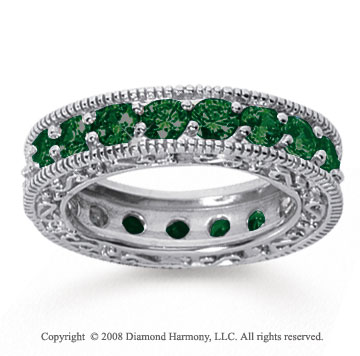 3 Carat Emerald 18k White Gold Filigree Prong Eternity Band