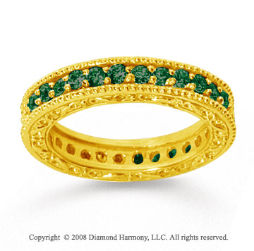 1 Carat Emerald 14k Yellow Gold Filigree Prong Eternity Band