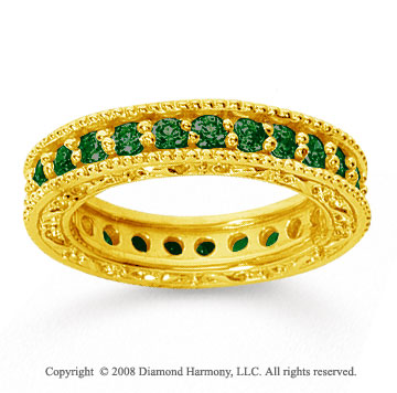 1 1/4 Carat Emerald 14k Yellow Gold Filigree Prong Eternity Band