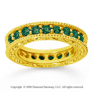 1 1/2 Carat Emerald 14k Yellow Gold Filigree Prong Eternity Band