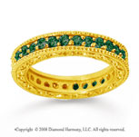 1 Carat Emerald 18k Yellow Gold Filigree Prong Eternity Band