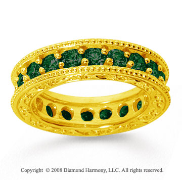 2 Carat Emerald 18k Yellow Gold Filigree Prong Eternity Band