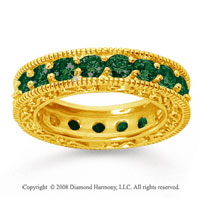 3 Carat Emerald 18k Yellow Gold Filigree Prong Eternity Band
