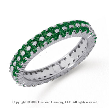 1 1/2 Carat  Emerald Platinum Double Row Eternity Band