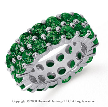8 1/2 Carat  Emerald Platinum Double Row Eternity Band