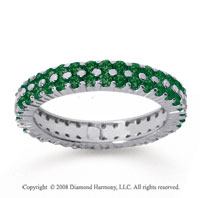 1 1/2 Carat  Emerald 14k White Gold Double Row Eternity Band