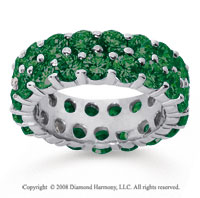 6 1/2 Carat  Emerald 14k White Gold Double Row Eternity Band