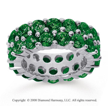 8 1/2 Carat  Emerald 14k White Gold Double Row Eternity Band