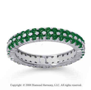 1 1/2 Carat  Emerald 18k White Gold Double Row Eternity Band
