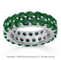 3 1/2 Carat  Emerald 18k White Gold Double Row Eternity Band