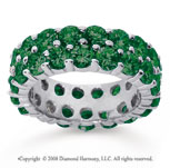 6 1/2 Carat  Emerald 18k White Gold Double Row Eternity Band
