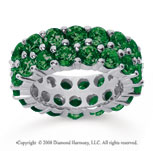 8 1/2 Carat  Emerald 18k White Gold Double Row Eternity Band