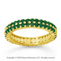 1 1/2 Carat  Emerald 14k Yellow Gold Double Row Eternity Band