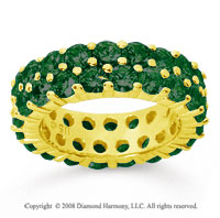 3 1/2 Carat  Emerald 14k Yellow Gold Double Row Eternity Band
