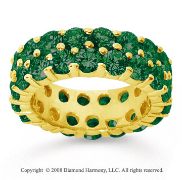 6 1/2 Carat  Emerald 14k Yellow Gold Double Row Eternity Band