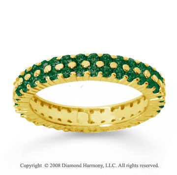2 1/2 Carat  Emerald 18k Yellow Gold Double Row Eternity Band