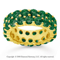 6 1/2 Carat  Emerald 18k Yellow Gold Double Row Eternity Band
