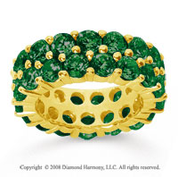 8 1/2 Carat  Emerald 18k Yellow Gold Double Row Eternity Band