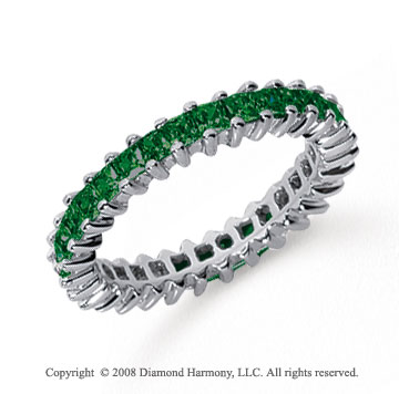 1 1/4 Carat Emerald Platinum Princess Eternity Band