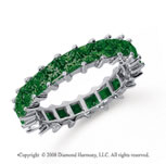 3 1/2 Carat Emerald Platinum Princess Eternity Band