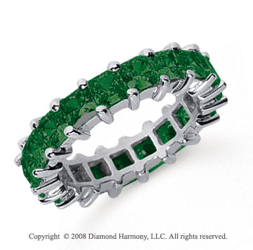 4 3/4 Carat Emerald Platinum Princess Eternity Band