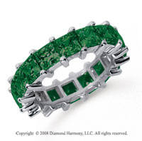 6 1/2 Carat Emerald Platinum Princess Eternity Band
