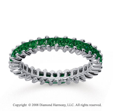 2 Carat Emerald 14k White Gold Princess Eternity Band
