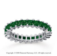 2 1/2 Carat Emerald 14k White Gold Princess Eternity Band