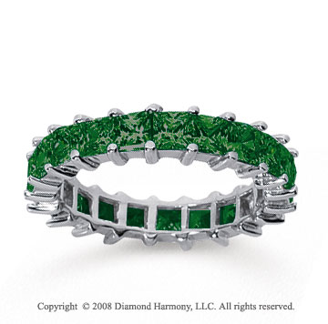 3 1/2 Carat Emerald 14k White Gold Princess Eternity Band