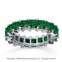 4 3/4 Carat Emerald 14k White Gold Princess Eternity Band