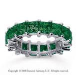 6 1/2 Carat Emerald 14k White Gold Princess Eternity Band