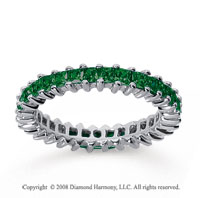 2 Carat Emerald 18k White Gold Princess Eternity Band