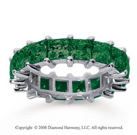 6 1/2 Carat Emerald 18k White Gold Princess Eternity Band