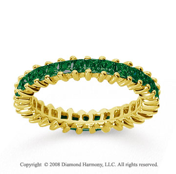1 1/2 Carat Emerald 14k Yellow Gold Princess Eternity Band