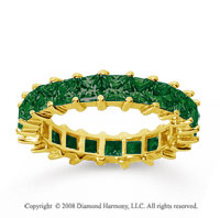 3 1/2 Carat Emerald 14k Yellow Gold Princess Eternity Band