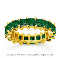 4 3/4 Carat Emerald 14k Yellow Gold Princess Eternity Band